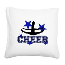 Blue Cheerleader Square Canvas Pillow