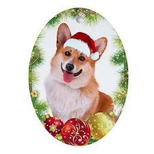 Smiling Corgi with Santa Hat Ornament (Oval)