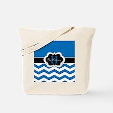 Elegant Blue Monogram Design Tote Bag