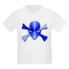 Alien Skull N Crossbones Blue T-Shirt
