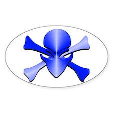 Metal Skull N Crossbones Blue Oval Decal