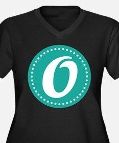 Letter O Women's Plus Size V-Neck Dark T-Shirt
