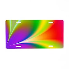 Funky Rainbow Flower Aluminum License Plate
