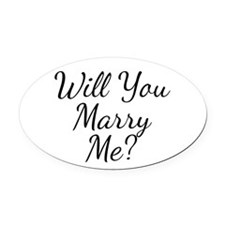 Will You Marry Me? Oval Car Magnet