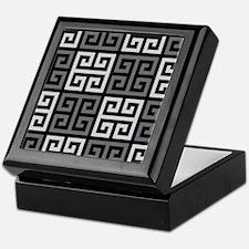 Greek Key Stylish Gray Keepsake Box