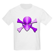 Metal Skull N Crossbones Purple T-Shirt