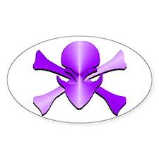 Metal Skull N Crossbones Purple Oval Decal