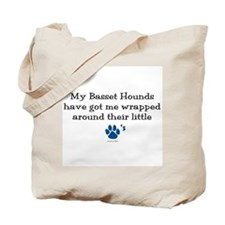 Wrapped Around Their Paws (Basset Hound) Tote Bag