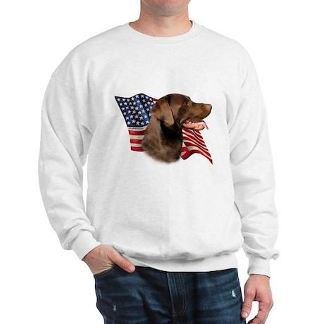 Chocolate Lab Flag Sweatshirt