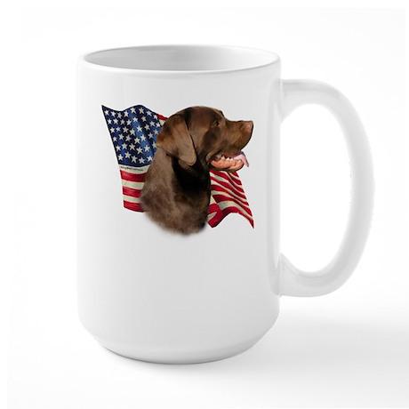 Chocolate Lab Flag Large Mug