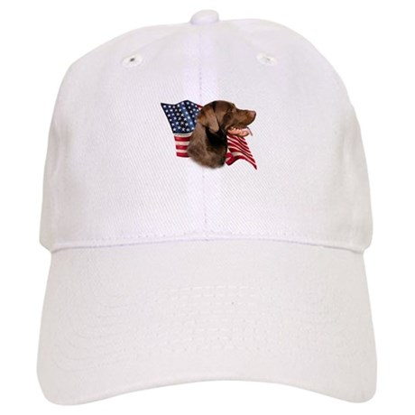 Chocolate Lab Flag Cap