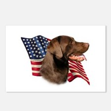 Chocolate Lab Flag Postcards (Package of 8)