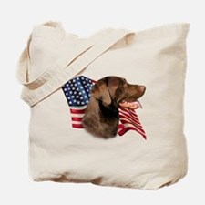 Chocolate Lab Flag Tote Bag