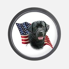 Black Lab Flag Wall Clock