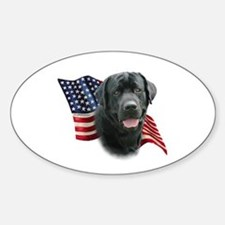 Black Lab Flag Sticker (Oval)