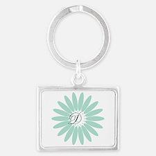 Cute Mint Monogram Landscape Keychain