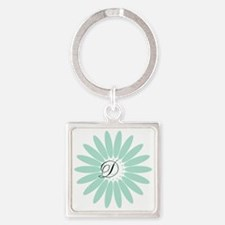 Cute Mint Monogram Square Keychain