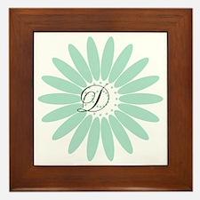 Cute Mint Monogram Framed Tile