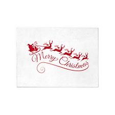 Santa Claus with his sleigh 5'x7'Area Rug