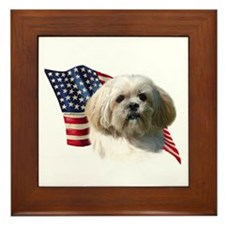 Lhasa Apso Flag Framed Tile