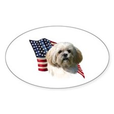 Lhasa Apso Flag Oval Decal