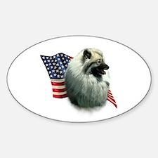 Keeshond Flag Oval Decal