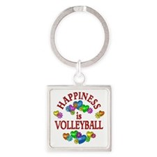 Happiness is Volleyball Square Keychain