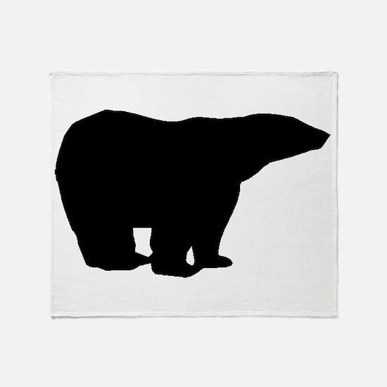 Polar Bear Silhouette Throw Blanket