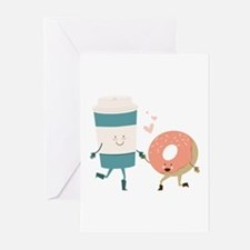 Coffe & Doughut Greeting Cards