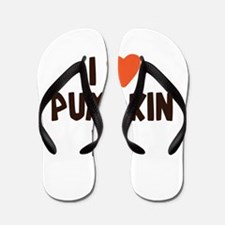 I Love Pumpkin Pie Heart Flip Flops