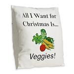 Christmas Veggies Burlap Throw Pillow