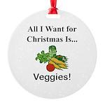 Christmas Veggies Round Ornament