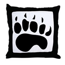 Bear Paw Silhouette Throw Pillow