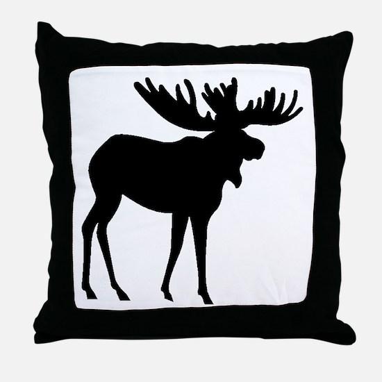 Moose Silhouette Throw Pillow