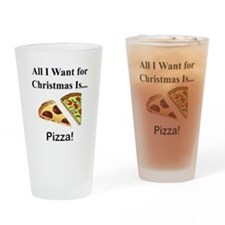 Christmas Pizza Drinking Glass