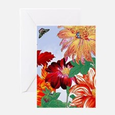 Dazzlin' Tulips, Dahlias, B'flies Greeting Cards