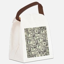 Collage of Currency Canvas Lunch Bag