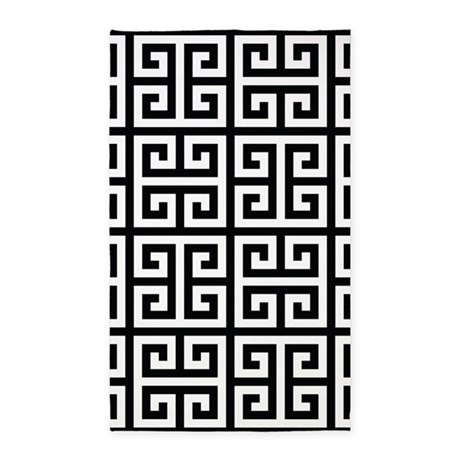 classy greek key black area rug