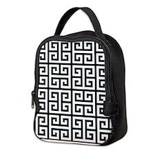 Classy Greek Key black Neoprene Lunch Bag