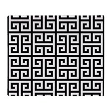 Classy Greek Key black Throw Blanket