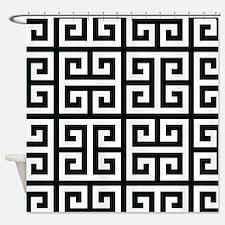 Classy Greek Key black Shower Curtain