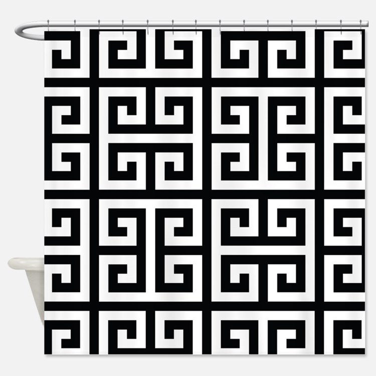 greek key shower curtains | greek key fabric shower curtain liner