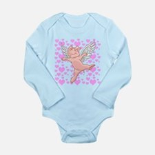 Flying Pig and Pink He Long Sleeve Infant Bodysuit