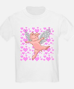 Flying Pig and Pink Hearts T-Shirt