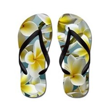 Plumeria on Blue Flip Flops
