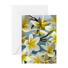 Plumeria on Blue Greeting Cards