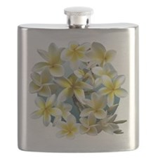 Plumeria on Blue Flask