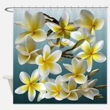 Plumeria on Blue Shower Curtain