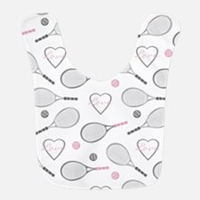 Elegant Tennis Love Pattern Grey and Pink Bib