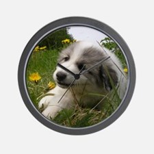 Great Pyrenees Puppy - Meadow Wall Clock